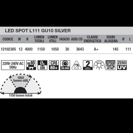 Wiva Led Spot L111 GU10 Silver 12W  4000K 12102305