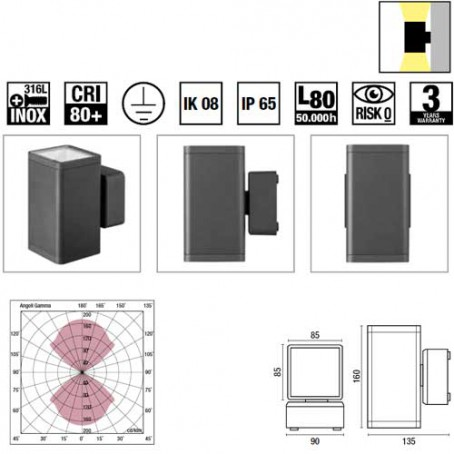 Wiva Aplique Misam Square Cinzento 2x8W 4000K 71400011
